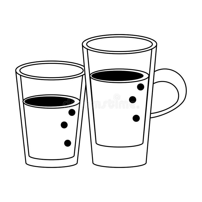 Sund tecknad film för drinkfruktsaftnatur i svartvitt royaltyfri illustrationer