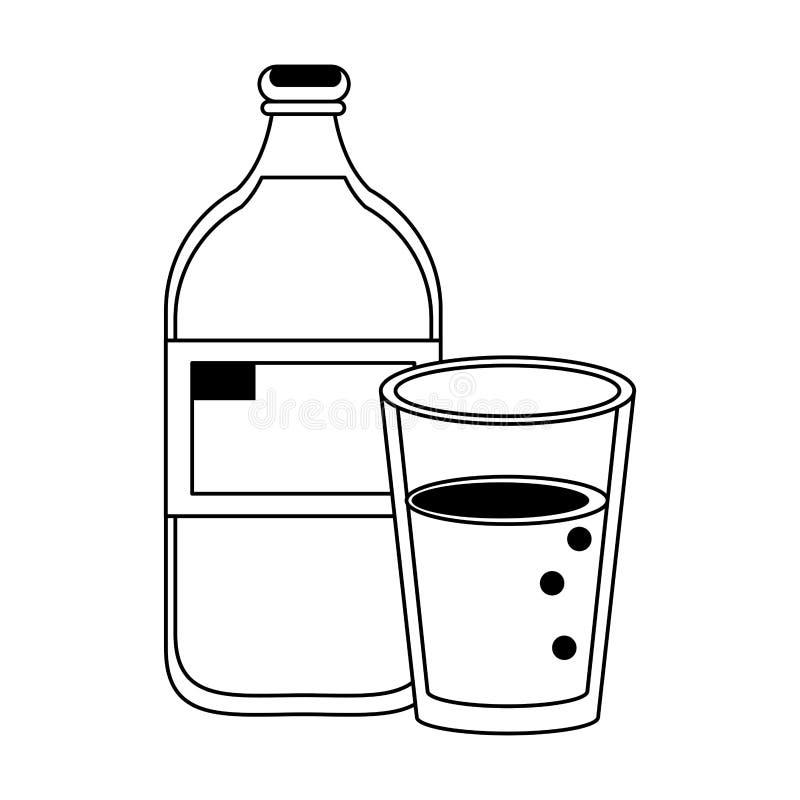 Sund tecknad film för drinkfruktsaftnatur i svartvitt vektor illustrationer