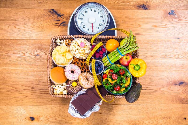 Sund ung kvinna som ser sund och sjuklig mat som försöker att göra det högra valet arkivfoto