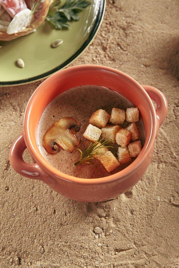 Sund ungemat med champinjoner skummar soppa i naturlig keramisk kruka arkivbilder