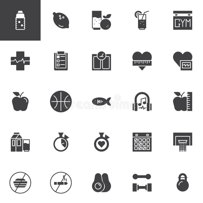 Sund uppsättning för livsstilvektorsymboler royaltyfri illustrationer