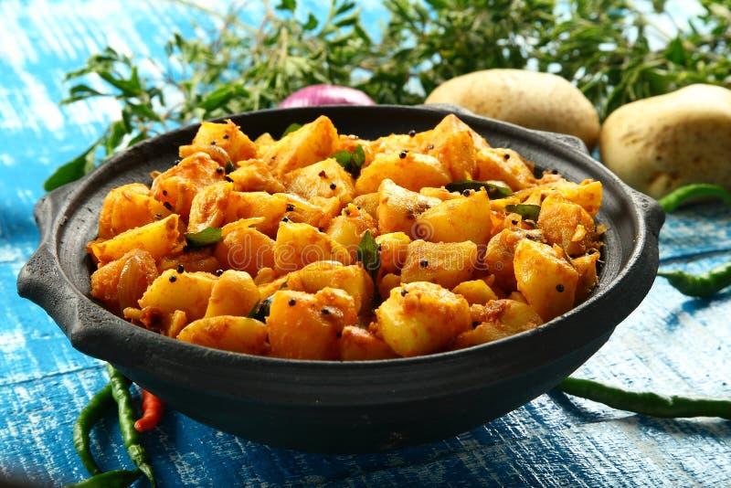 Sund vegetarisk stekt matpotatis royaltyfri bild
