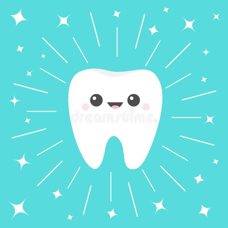 Sund vit tandsymbol E Rund linje cirkel Muntlig tand- hygien Barnt?nder royaltyfri illustrationer