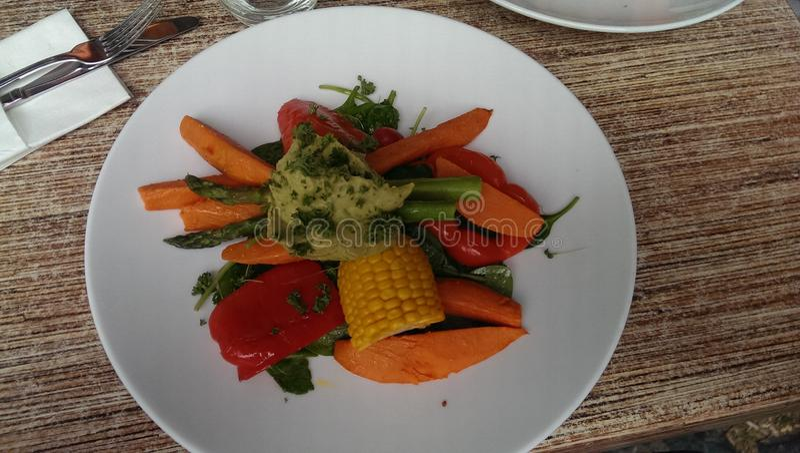 Sunda färgrika grönsaker på den vita plattan arkivbild