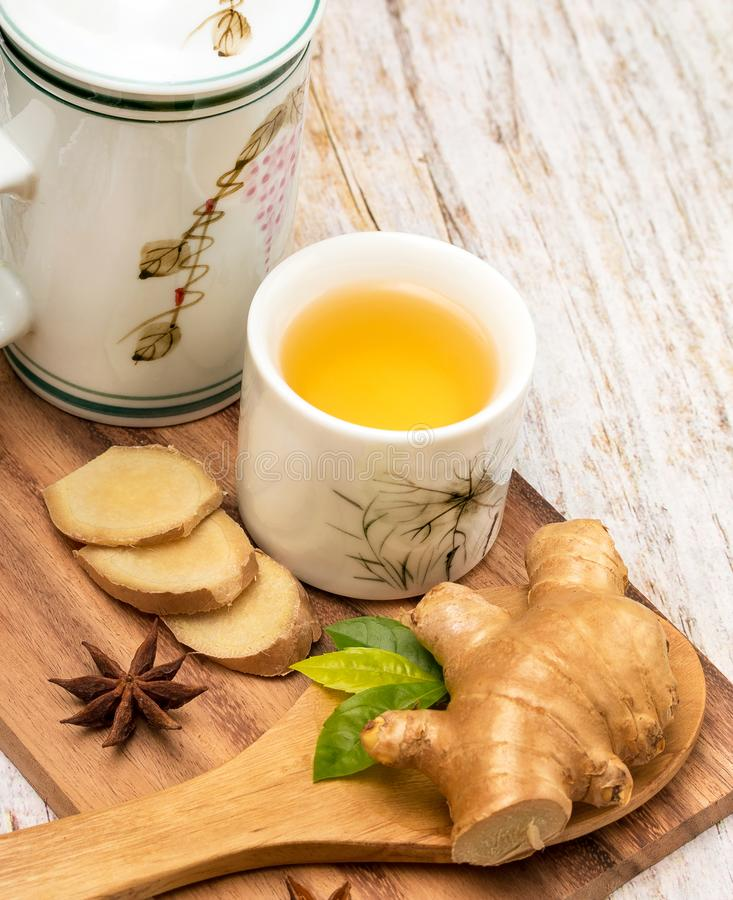 Sunda Ginger Tea Means Organic Refreshing och Organics royaltyfri bild