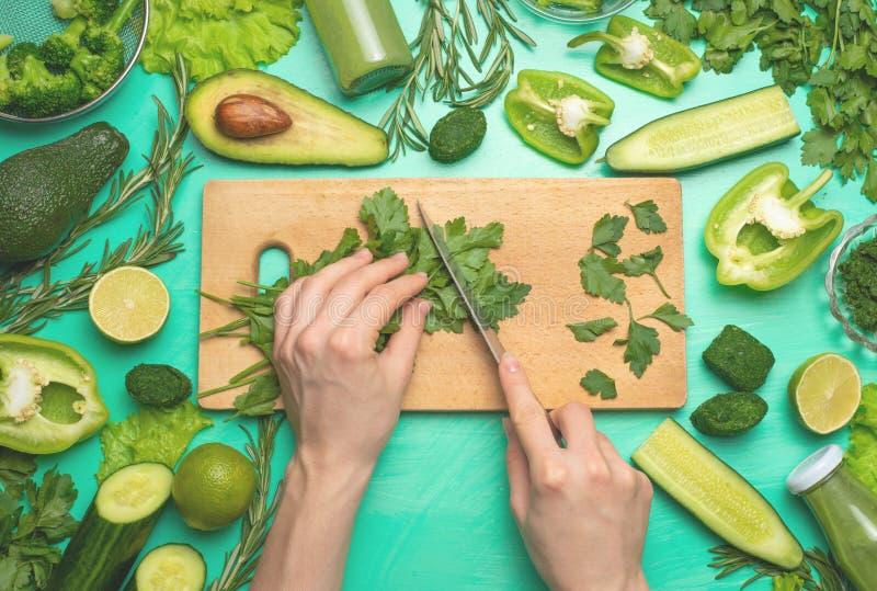 Sunda gröna strikt vegetarianmatlagningingredienser Hudflänga-lekmanna- av kvinnliga händer som klipper gröna grönsaker och gräsp fotografering för bildbyråer