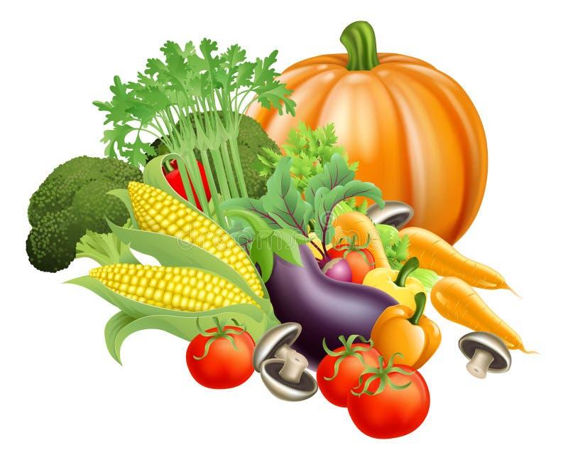 Sunda grönsaker för ny produce royaltyfri illustrationer