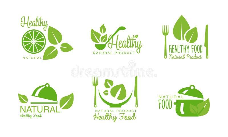 Sunda naturproduktlogoer ställer in, gör grön etiketter, emblem för eco som är organiska, strikt vegetarian, rå sund matvektorill stock illustrationer