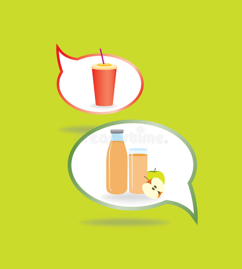 Sunda och sjukliga drinkar för matbegrepp vektor illustrationer