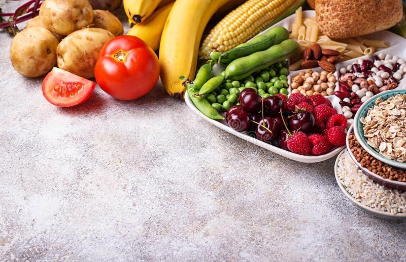 Sunda produktkällor av kolhydrater royaltyfria bilder