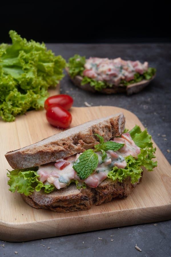 Sunda smörgåsar frukosterar tomaten, grönsallat royaltyfria foton