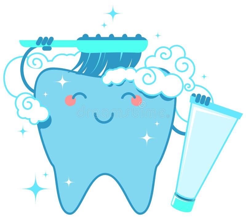 Sunda tandborstar själv med tandborsten och tandkräm royaltyfri illustrationer