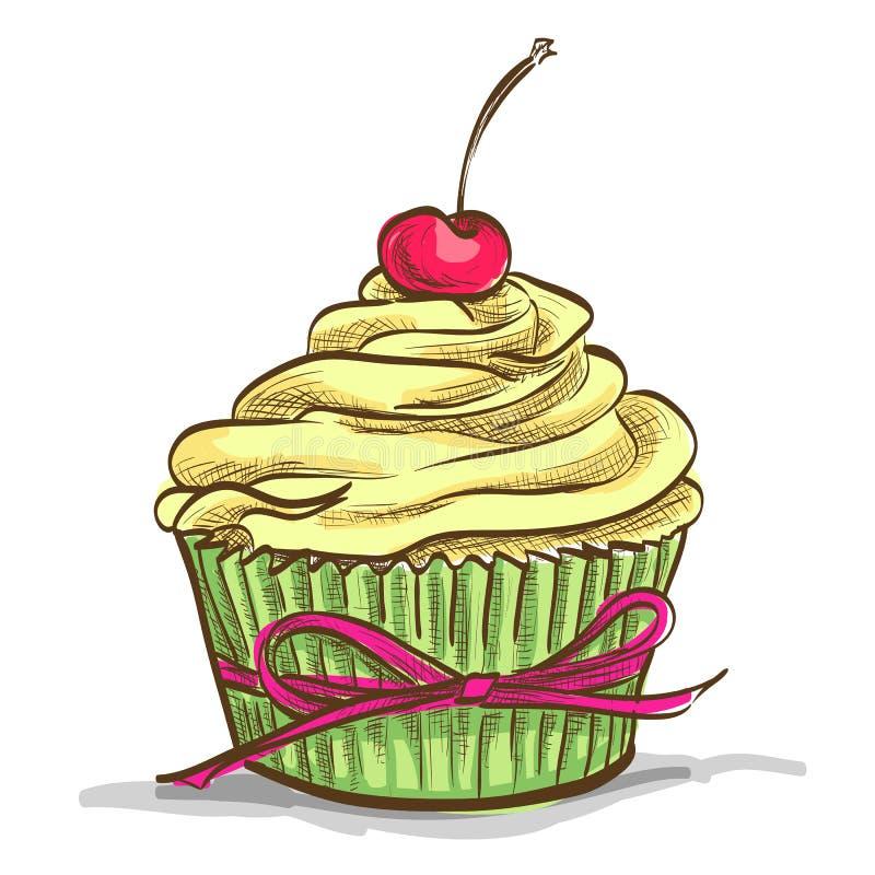 Sundae παγωτού cupcake διανυσματική απεικόνιση