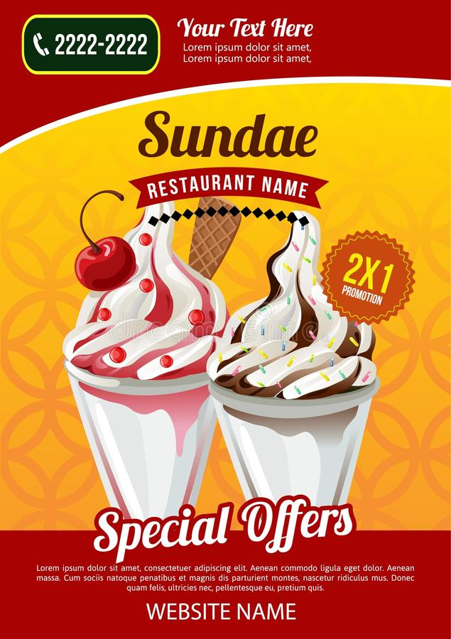 Sundae προωθητικό πρότυπο εστιατορίων παγωτού διανυσματική απεικόνιση