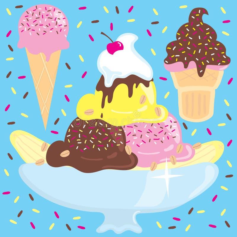 Sundae do gelado com os cones de gelado ilustração do vetor