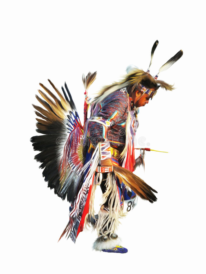 Sundancer Indian. Digital painting of a native american indian pow-wow dancer in full regalia vector illustration