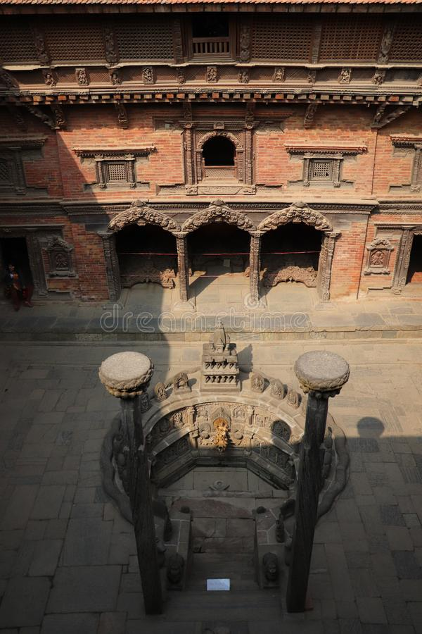 Sundari chowk. At Tusha Hiti of Patan Durbar Square stock photography