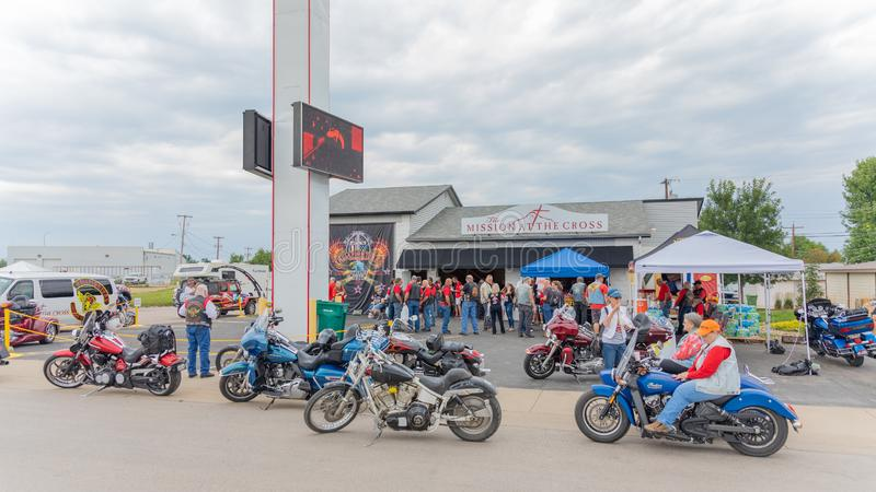 Hellfighters Motocycle Club meet at Sturgis, South Dakota. SUNDAY, AUGUST 5, 2018, STURGIS, SD: On the outskirts of Sturgis, near i-90, the Hellfighters royalty free stock photography