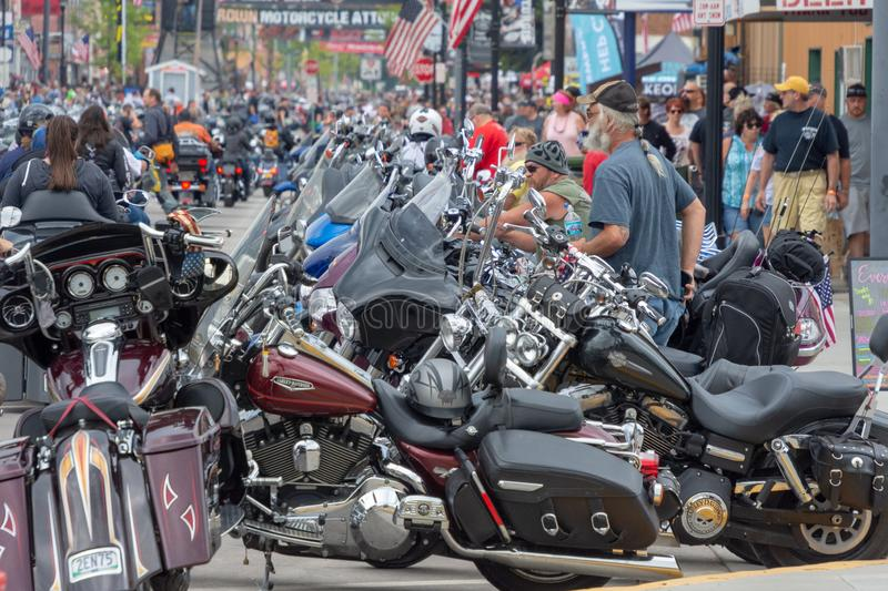 Sturgis, South Dakota motorcycle rally. SUNDAY, AUGUST 5, 2018, STURGIS, SOUTH DAKOTA: Thousands of motorcycles and their riders line downtown Main Street in royalty free stock photography