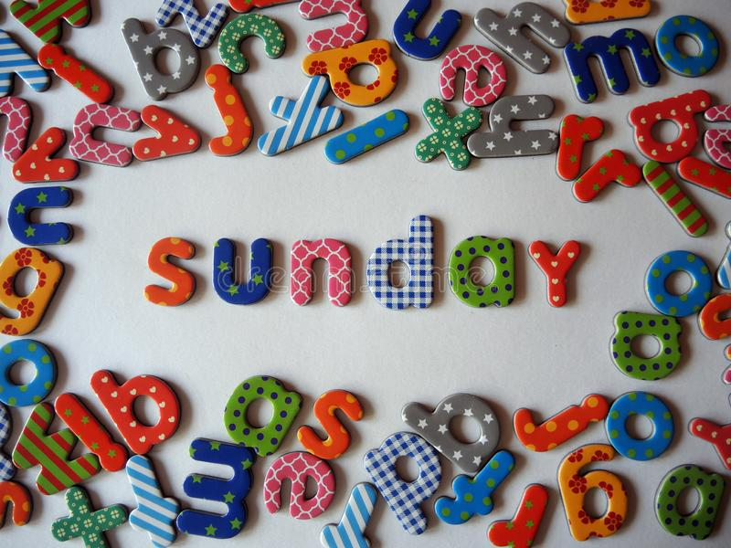 Sunday banner with colorful lower case letters stock photo