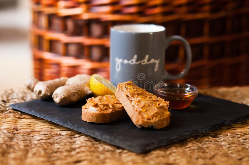 Sunday breakfast: toasts with peanut butter and honey stock image