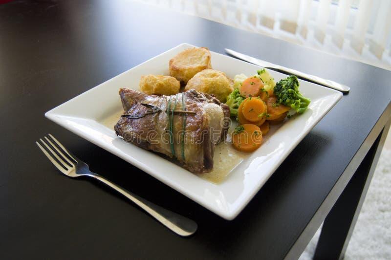 Sunday lamb roast stock photography