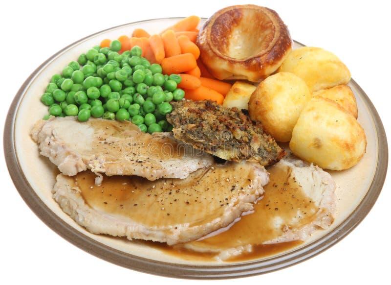 Sunday Roast Pork Dinner Royalty Free Stock Photography