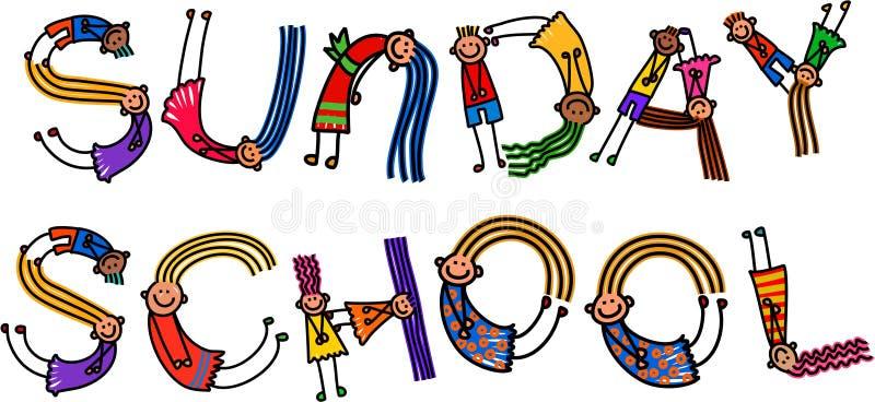 Sunday School Kids Title Text vector illustration