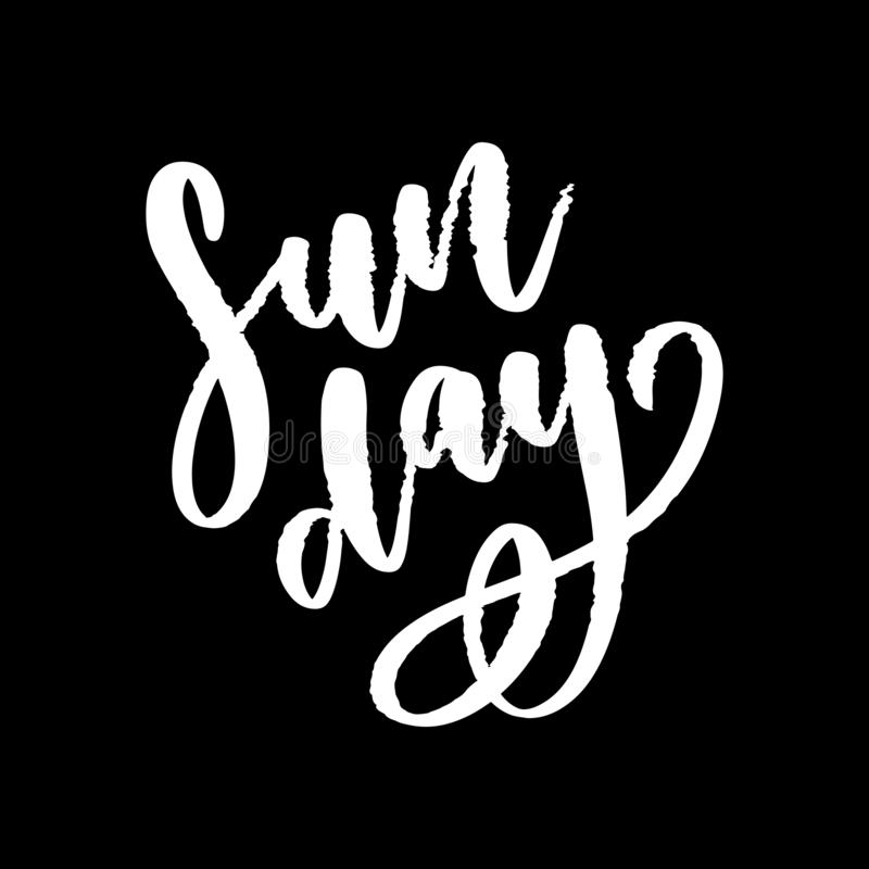 Sunday - Vector hand drawn lettering phrase. Modern brush calligraphy for blogs and social media. Sunday - Vector hand drawn lettering phrase. Modern brush royalty free illustration