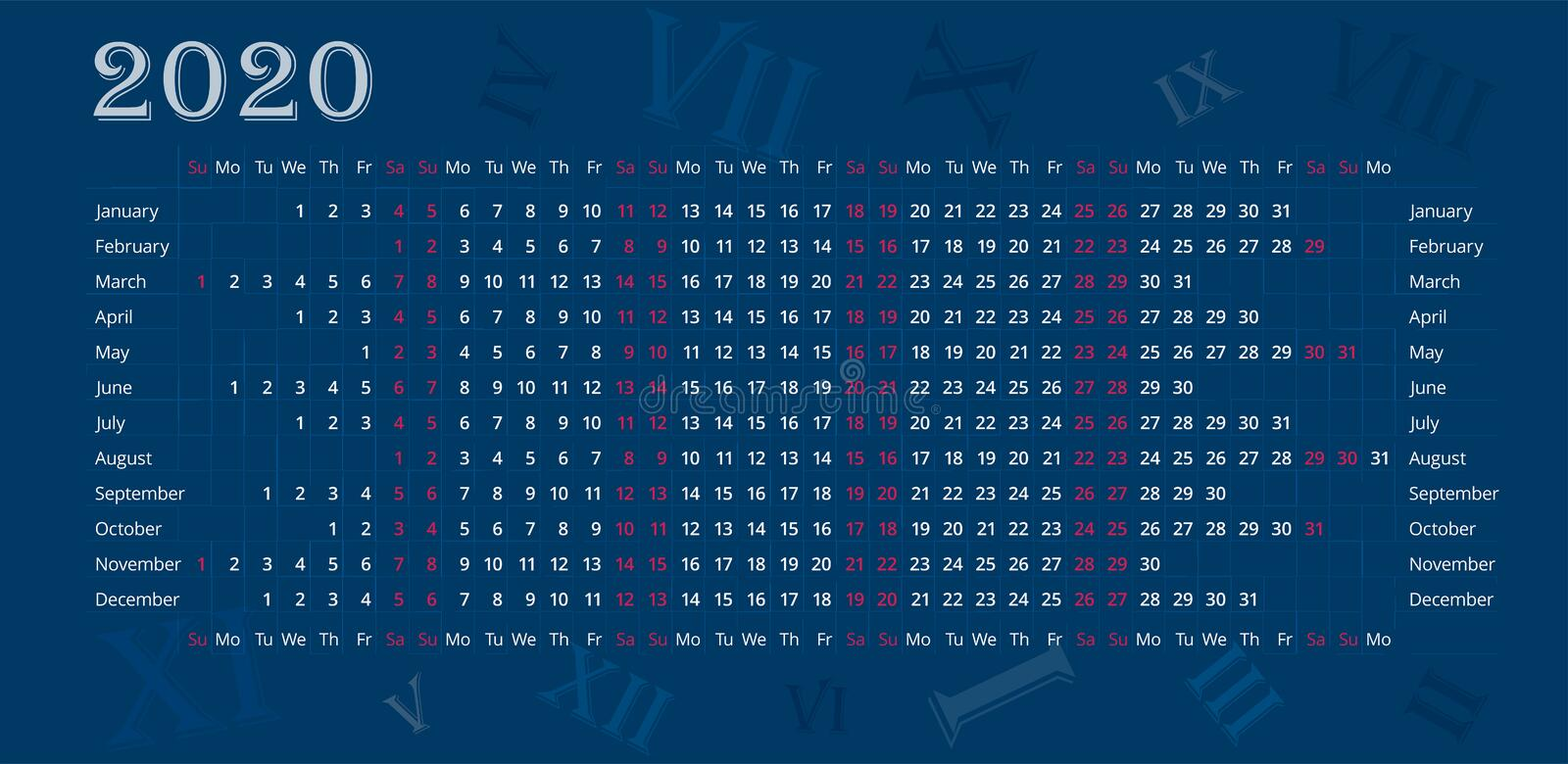 Wall calendar of 2020 year on deep blue background with Roman numerals. stock photography