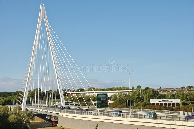 Sunderland`s Northern Spire Bridge. The white `A` frame suspension bridge that crosses the River Wear in Sunderland. Sunderland`s Northern Spire Bridge, opened royalty free stock photography