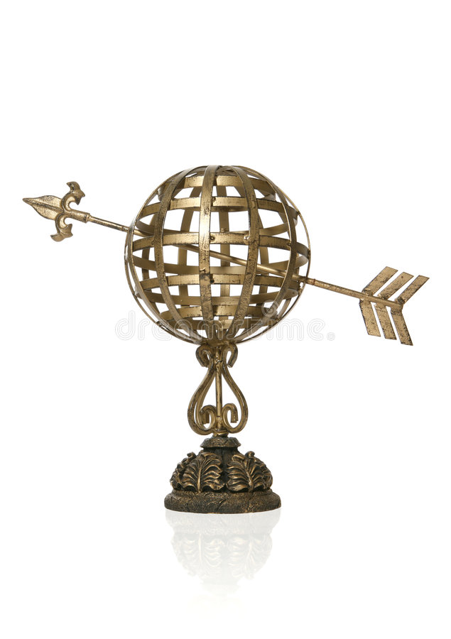Sundial. An old brass sundial isolated over white royalty free stock photography