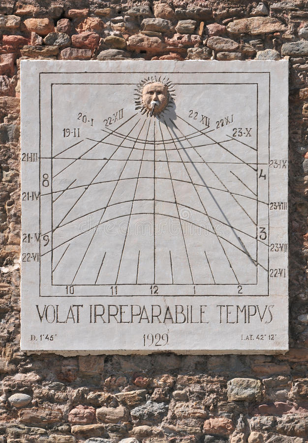 Sundial. In Ripoll at Placa del Monestir (Catalonia - Spain royalty free stock images