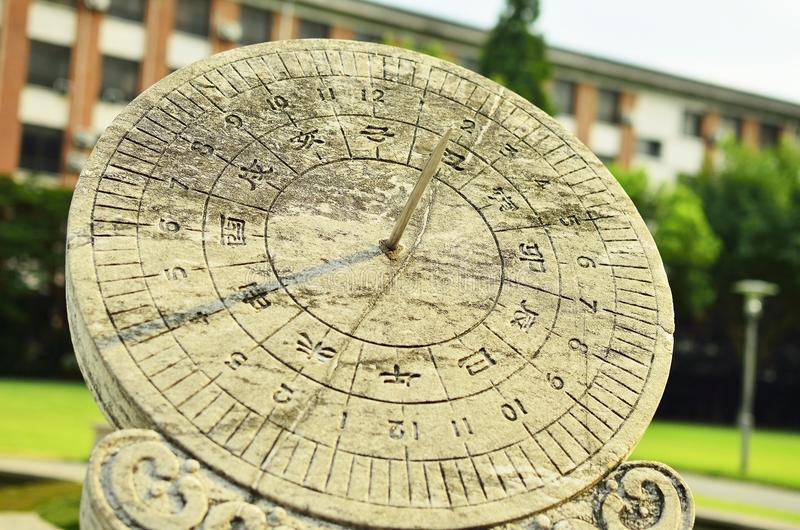 Sundial. A sundial is a device that tells the time of day by the position of the Sun stock photos