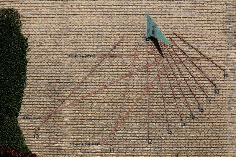 Sundial at Aarhus university. Sundial from 1945 at Aarhus university, Denmark stock photos