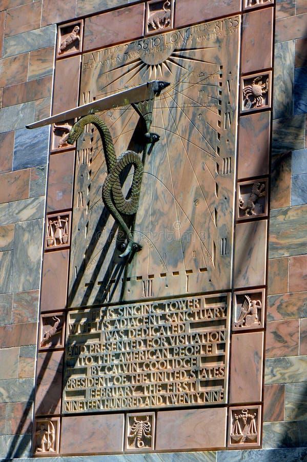 Sundial. On Bok singing tower in Florida USA stock image