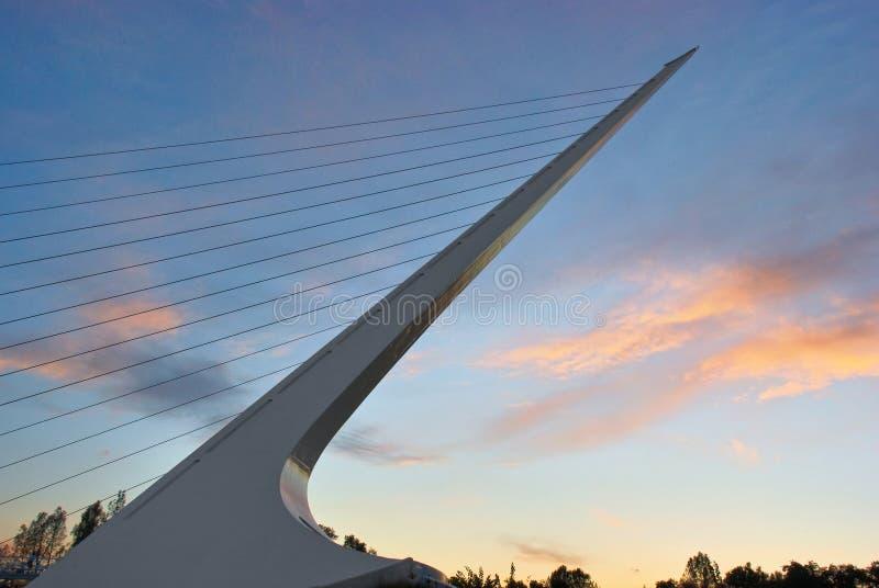 Sundial-Brücke am Sonnenuntergang stockbilder