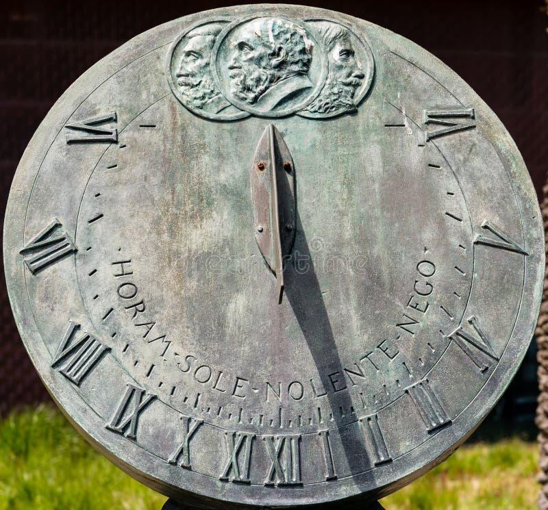 Sundial. Closeup of vintage bronze sundial royalty free stock photos