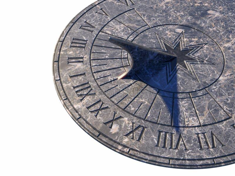 Sundial. Marble sundial isolated on white royalty free stock image