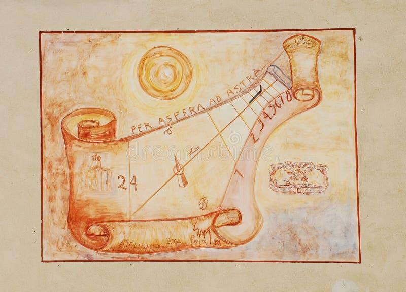 Sundial na powierzchowności Uprawia ziemię kultury muzeum Friulian zdjęcia stock