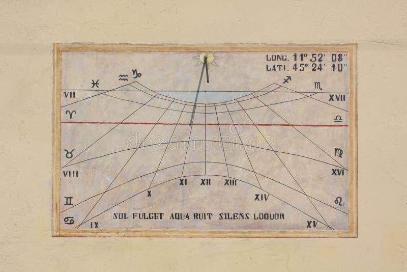 Sundial. Old italian sundial with zodiac symbol royalty free stock image