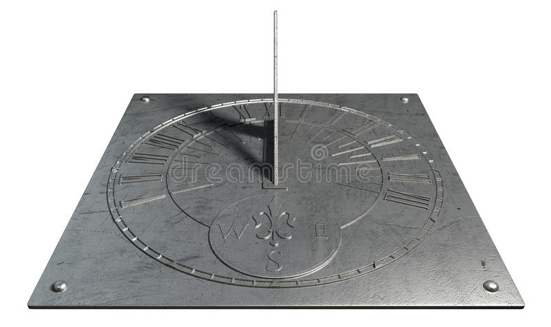 Sundial. An old vintage sundial clock made of scratched metal with roman numerals on an isolated white studio background royalty free stock photo