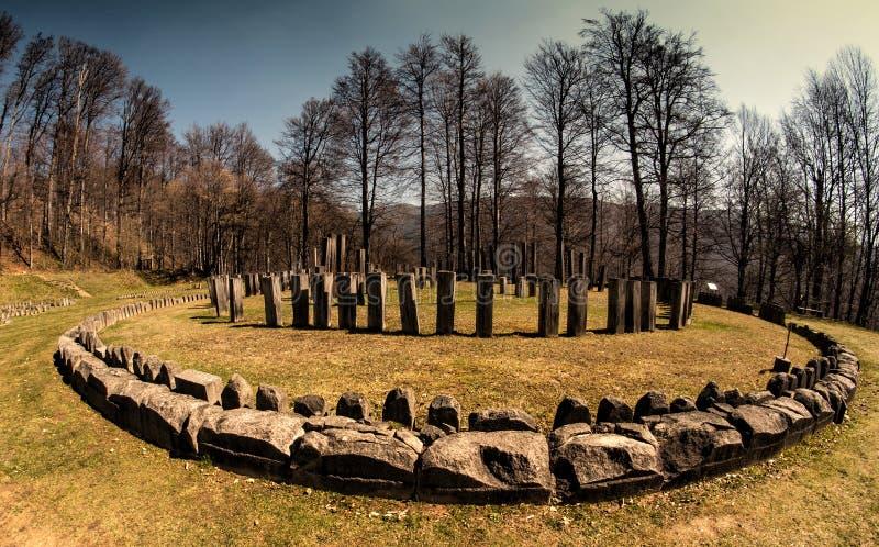 Sundial. Sarmisegetuza Regia. Ancient sundial in a historic area stock image