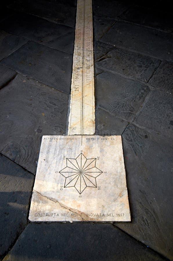 sundial w włoskim mieście Bergamo zdjęcie stock