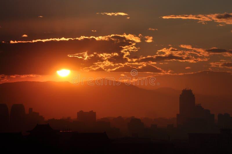 Sundownï ¼ In Peking Stock Foto