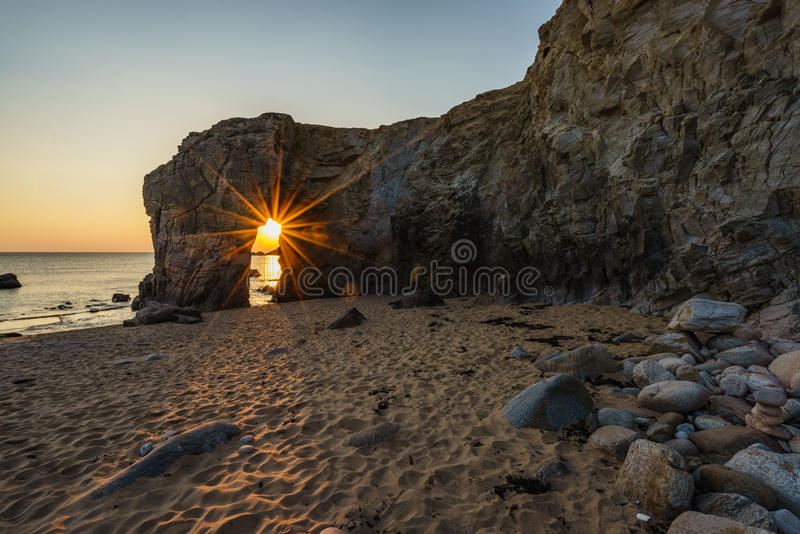 Sundown at Arche de Port Blanc in Saint-Pierre-Quiberon stock images