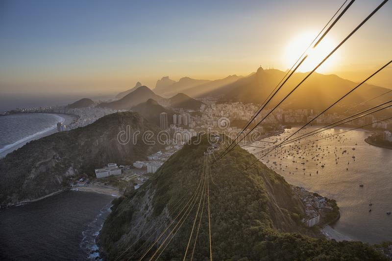Sundown Brazil, Rio de Janeiro, Botafogo, Copacabana from Sugarloaf Mountain royalty free stock photo