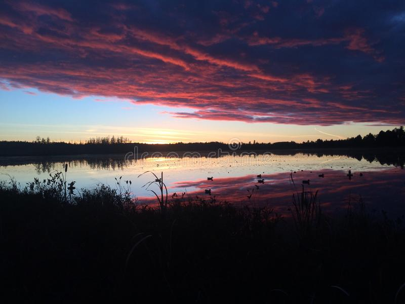 Sundown Hunt. Sunset with duck decoys in the water stock photography