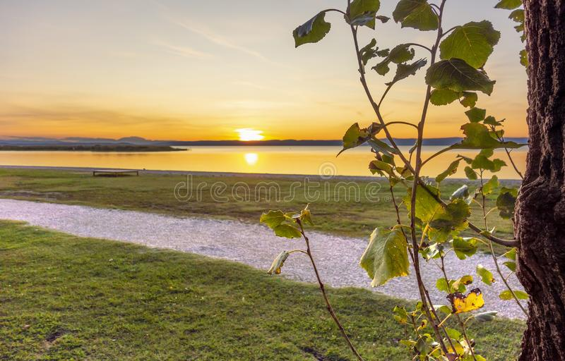 Sundown near Podersdorf am See royalty-vrije stock fotografie
