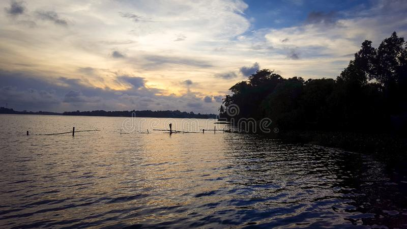 Sundown Sky With Lake royalty free stock images